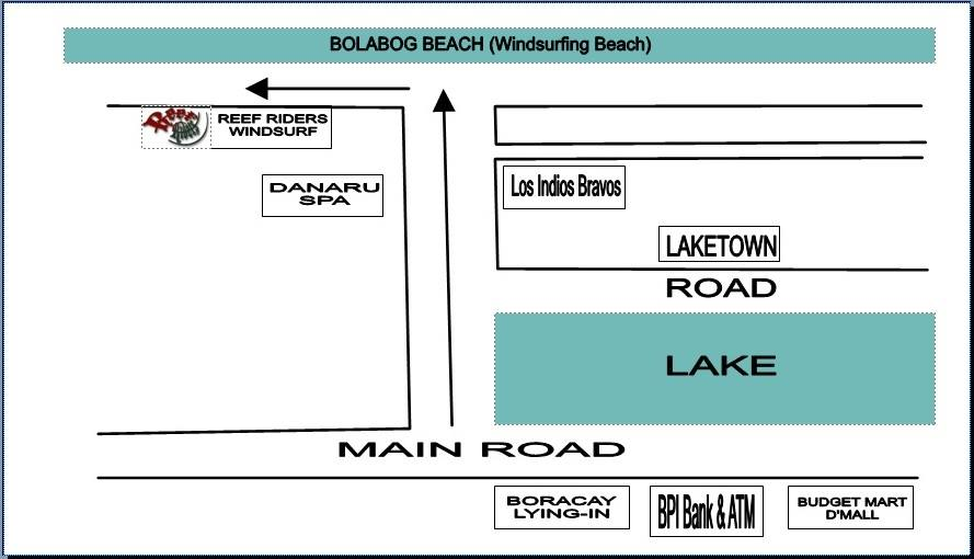 Location Map of Reef Riders Windsurfing Center